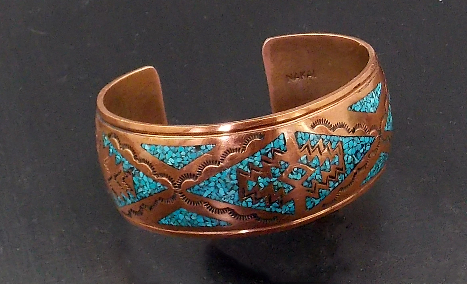 copper and turquoise george nakai navajo bracelet