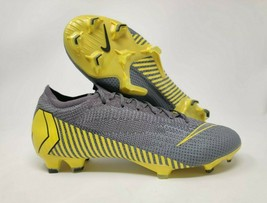 Nike Vapor 12 Elite FG Thunder Grey Yellow Soccer Cleats Size 8.5 AH7380... - $129.95