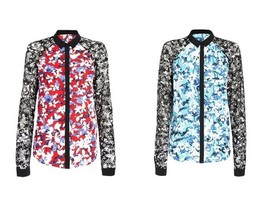 NWT Peter Pilotto Collar Blouse Shirt Floral w/ black Lace sleeves - Red... - $32.47