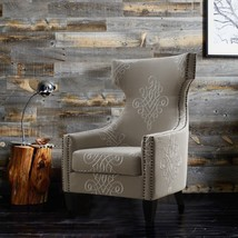 Wingback Chair Contemporary Embroidered Linen Seat Upholstery Cushion Na... - €429,13 EUR