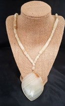 "Vintage Long alabaster Necklace 25"" - $10.00"