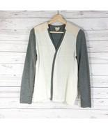 Chico's Color Block Sweater Cardigan Sz 0 Gray Beige Open Style Long Sle... - $23.81