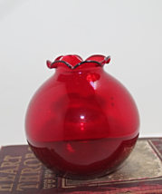 Vintage Ruby Red Round Rose Bowl Vase - $12.50