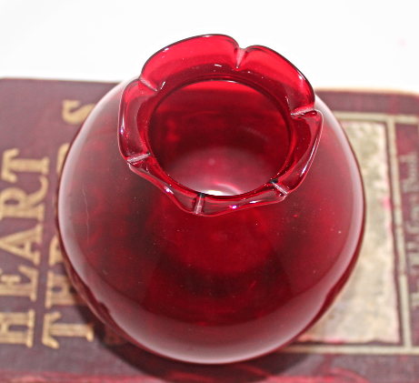 Vintage Ruby Red Round Rose Bowl Vase