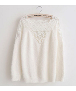 2015 spring white lace trim sweater thumbtall