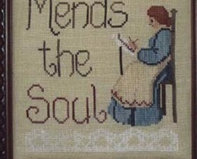 Stitching Mends The Soul cross stitch chart Waxing Moon Designs