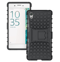 Rugged Dual Layer Protective Case with Kickstand For Sony Xperia XA - Black  - $4.99