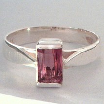 Pink Tourmaline Gemstone Handmade Sterling Silver Ladies Solitaire Ring sz 8.75 - £85.24 GBP
