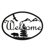 Wrought Iron Welcome Sign Bear Silhouette Forest Nature Eagle Wall Plaqu... - $24.99