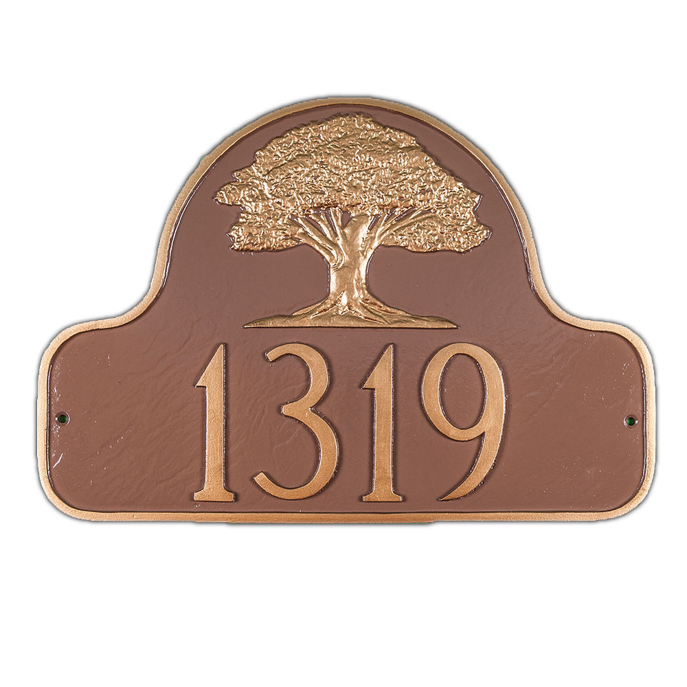montague metal arch style address plaque oak tree custom outdoor sign yard decor plaques signs. Black Bedroom Furniture Sets. Home Design Ideas