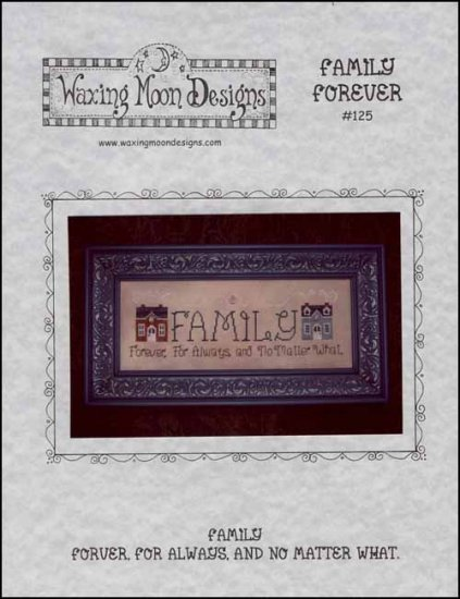 Family Forever cross stitch chart Waxing Moon Designs