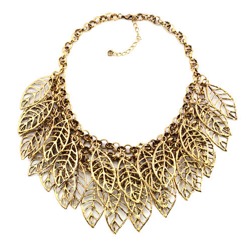Pugster Statement Necklace Vintage Golden Tone Chain Hollow Chunky Leaf