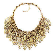 Pugster Statement Necklace Vintage Golden Tone Chain Hollow Chunky Leaf  - $93.99