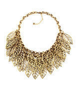 Pugster Statement Necklace Vintage Golden Tone Chain Hollow Chunky Leaf  - £70.52 GBP
