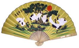"""8 Cranes XL Hand Painted Oriental Wall Fan 60"""" when Open [NEW] - $25.86"""