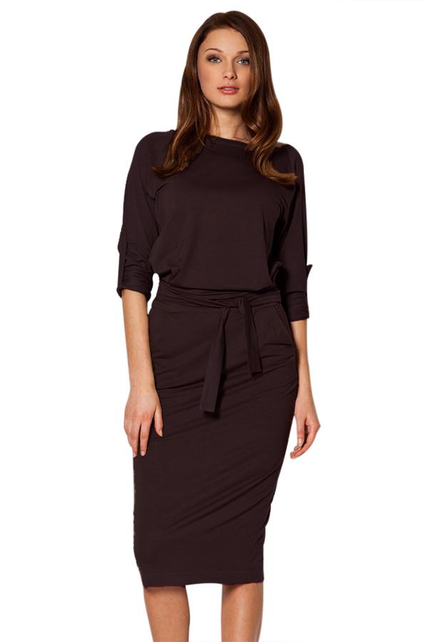 Coffee Roll-tab Long Sleeve Tie Waist Midi Dress