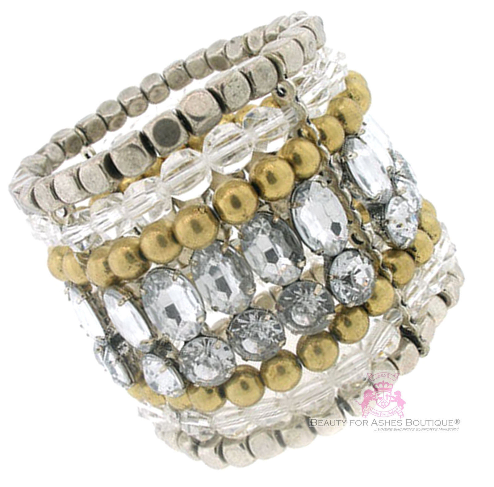 Beauty for Ashes Clear Acrylic Super Chunky Silver Stretch Bracelet