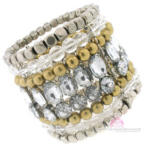 Beauty for Ashes Clear Acrylic Super Chunky Silver Stretch Bracelet - $13.46