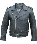 Allstate Leather Mens Motorcycle Jacket in Naked Cowhide Leather AL2040 - $189.00+