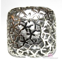 Womens Chunky Floral Lace Square Wide Boxy Silvertone Stainless Steel Fu... - $17.00