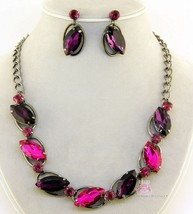 Evening Faceted Pink Crystal Faceted Purple Glamour Prom Necklace Earrings Set - $5.97