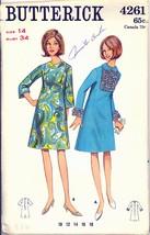 1960s Bust 34 Mod A Line Dress Frilled Front Bell Sleeve Butterick 4261 ... - $9.99