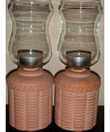 Pair of Pale Terra Cotta Candle Holders w/ Glass Globes + Te - $10.00