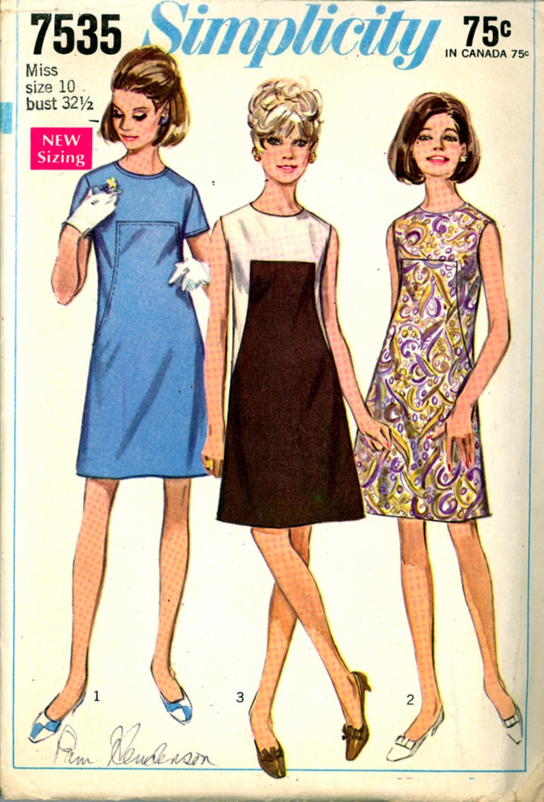 Primary image for 1960s Bust 32 1/2 A Line Front Seaming Mod Dress Simplicity 7535 Vintage Pattern