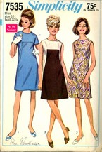 1960s Bust 32 1/2 A Line Front Seaming Mod Dress Simplicity 7535 Vintage... - $6.99