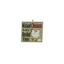 "KURT ADLER ""WICKED CHICKENS LAY DEVILED EGGS"" FARM THEME PLAQUE XMAS ORN... - $5.88"