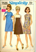 1960s Bust 32 A Line Front Seaming Mod Dress Simplicity 7535 Vintage Pat... - $6.99