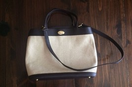 Etienne Aigner woven straw handbag, brown trim, shoulder strap, bottom posts - $14.01