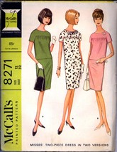 1960s Two Piece Dress McCalls 8271 Bust 32 Size 12 Skirt Top Vintage Pat... - $4.99