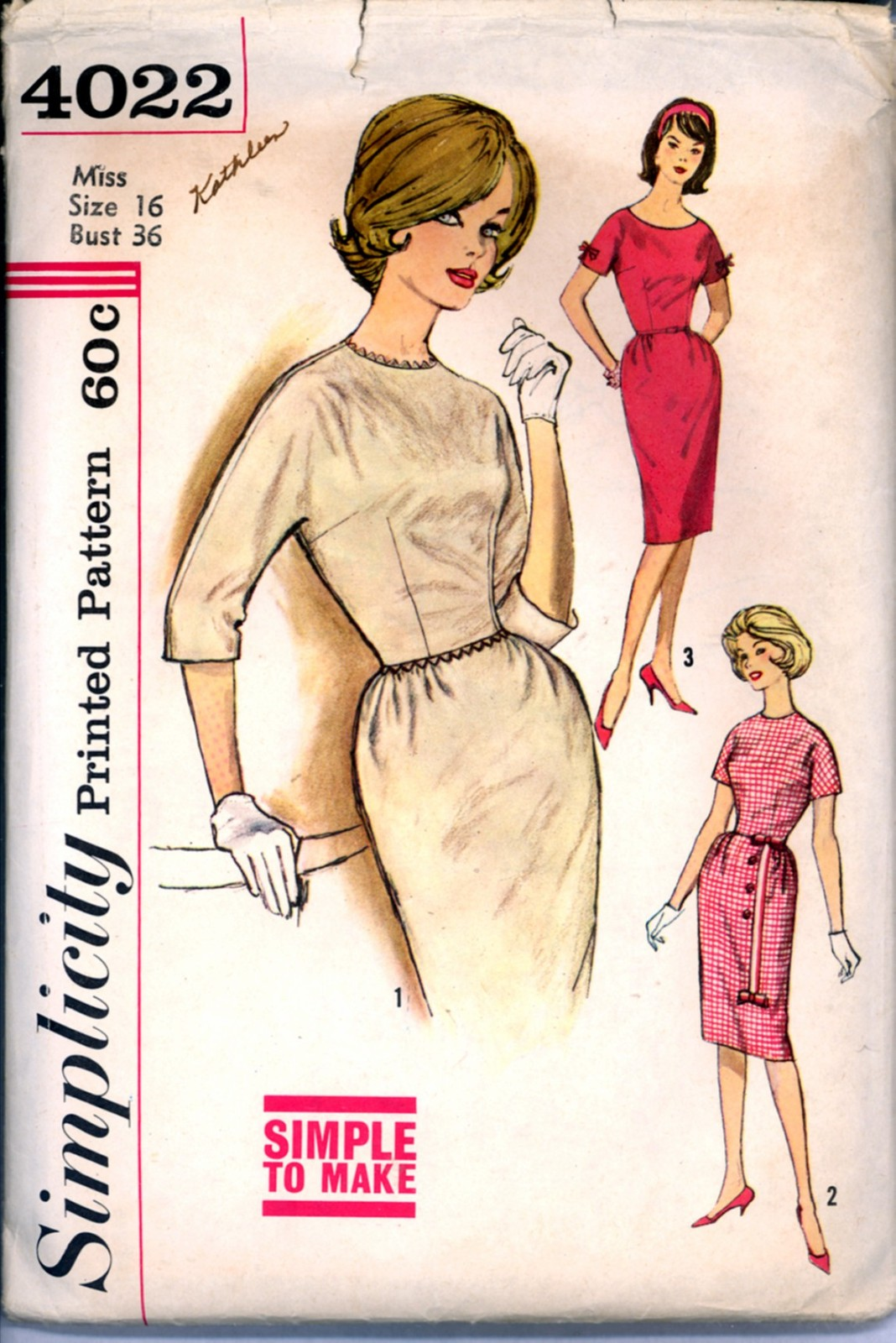 Primary image for 1960s Bust 36 Size 16 Sheath Dress Kimono Sleeves Simplicity 4022 Pattern