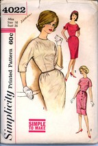 1960s Bust 36 Size 16 Sheath Dress Kimono Sleeves Simplicity 4022 Pattern - $6.99