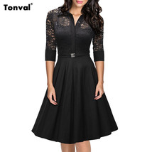 Dress Lace vintage 1950s Collar elegant - $49.99
