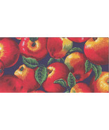 Apple Apples Allover on Navy Cotton Fabric Print VIP® D571.21 - $9.85