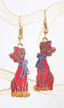 Cute Kitty Cloisonne Enamel Red Cat Earrings 1970s vintage - $14.80