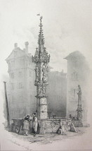 SWITZERLAND Fountain at Basel -  1838 Fine Quality Litho Print image 1
