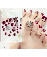 Fake Toe Nails Full Cover False Toes Nail Art Tips Red Rhinestone Manicu... - $8.99