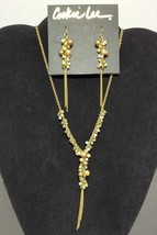 Cookie Lee Necklace Earrings Set Boho Hippie Beaded Y Chain White Bronze Gold - $21.78