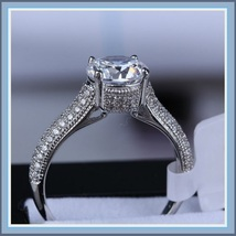 Brilliant Sparkle Crystal CZ Crown Set Pave Encrusted Jeweled Betrothal Ring  image 2