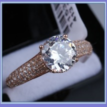 Brilliant Sparkle Crystal CZ Crown Set Pave Encrusted Jeweled Betrothal Ring  image 5