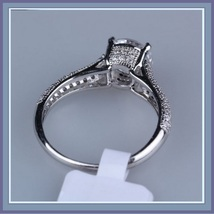 Brilliant Sparkle Crystal CZ Crown Set Pave Encrusted Jeweled Betrothal Ring  image 6
