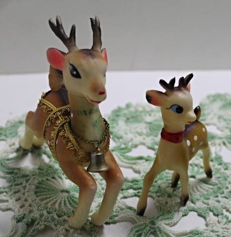 Three Vintage Soft Rubber Kitchy Kitsch Deer & Reindeer Figurine Christmas Decor