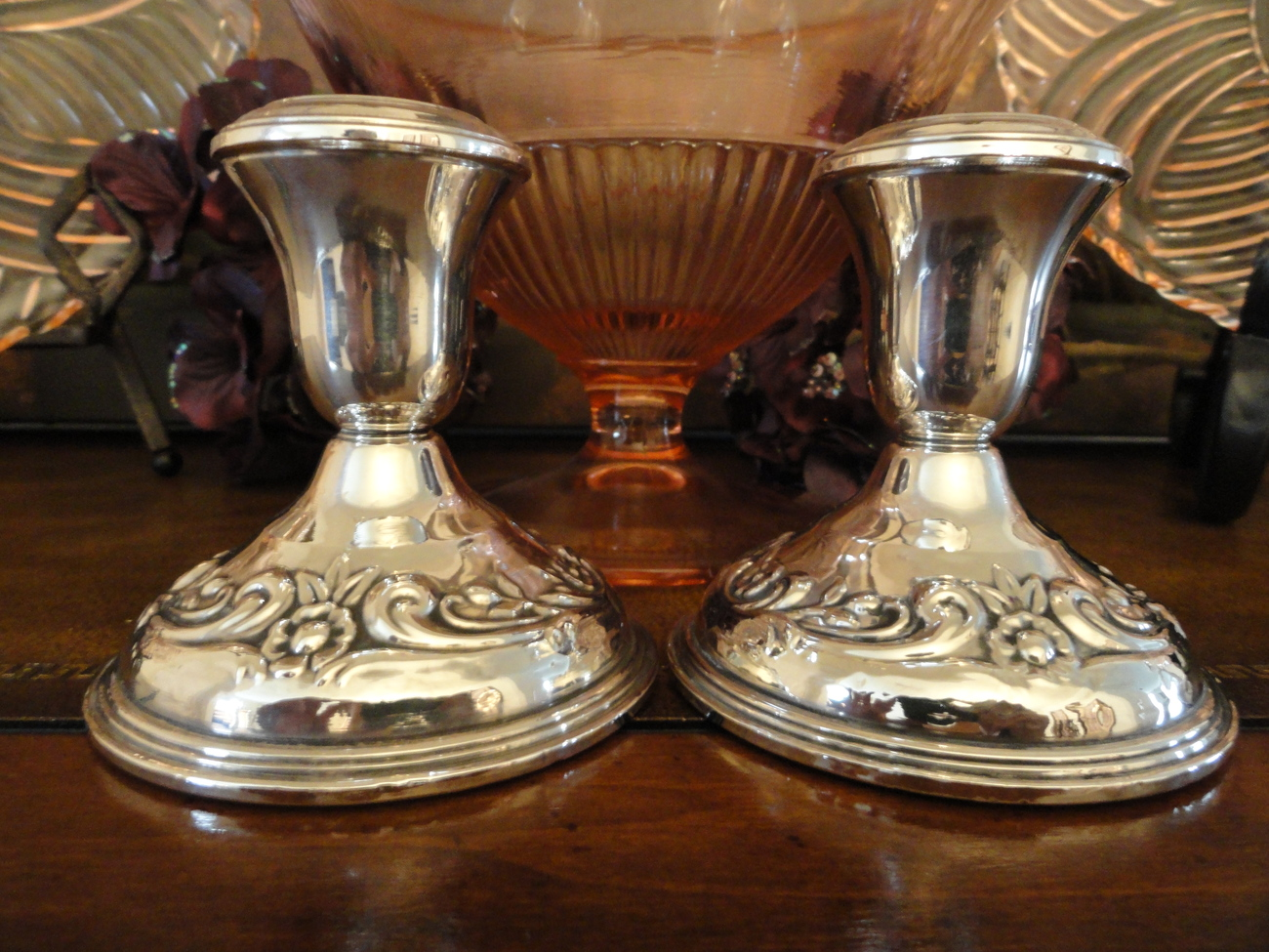 Reed & Barton Vintage Sterling Silver Repousse Weighted Reinforced Candlesticks