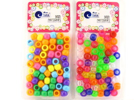 TARA BRAIDING PONY BEADS - TRANSPARENT & SOLID COLORS - 60 Pk. (ZQ8592, ... - $5.99
