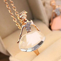 USA 18K Gold Plated Sweater Chain Shiny Crystal Ballet Girl Pendant Neck... - $9.99