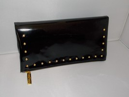Estee Lauder Evening Bag Cosmetic Clutch BLACK GOLD Studs Zipper Vinyl P... - $40.56 CAD
