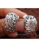 Sterling Silver Ornate Design Semi - Hoop Earrings SE-166-DG - $20.99